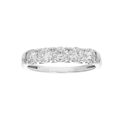 1 CT AGS Certified 5 Stone Diamond Ring 14K White Gold in Size 7