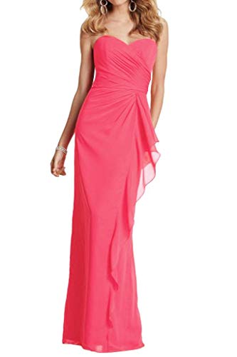 Abendkleider Rosa Lang mia Schmaler Geraft Partykleider Dunkel Chiffon Schnitt La Herrlich Braut Abschlussballkleider 1T7pX