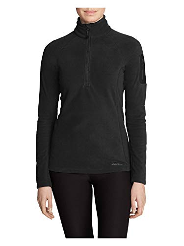 Eddie Bauer Women's Cloud Layer Pro Fleece 1/4-Zip Pullover, Black Petite S