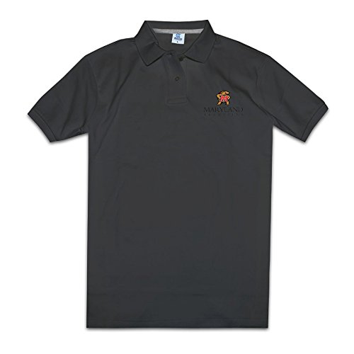 Men Maryland Terrapins Short Sleeve Pique Polo Shirts Black Size S