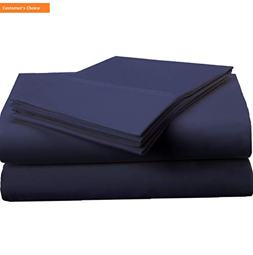 (Mikash 1500 Series Premium Quality 100% Brushed Soft Microfiber 4-Piece Luxury Deep Pocket Cooling Bed Sheet Set, Hypoallergenic, Wrinkle and Stain Resistant - Queen, Navy Blue | Style 84600526)