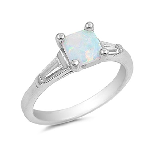 Solitaire Wedding Ring Princess Cut Square Lab Created White Opal Baguette Clear CZ 925 Sterling Silver ()