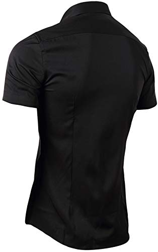 FLY HAWK Mens Dress Shirts, Fitted Bamboo Fiber Short Sleeve Elastic Casual Button Down Shirts 2