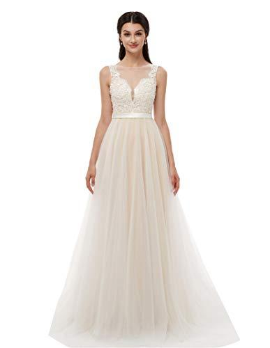 Ikerenwedding Women's V-Neck A-line Lace Tulle Long Beach Wedding Dresses for Bride Ivory3 US14