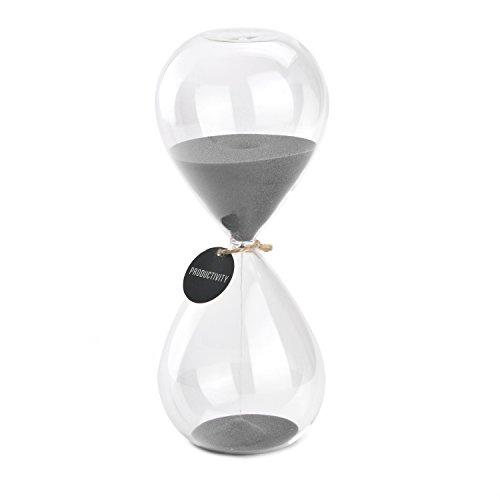 (Hourglass Sand Timers - SWISSELITE Biloba Hourglass Sand Timer, 8.1 Inch Grey Sand Timer In 30)