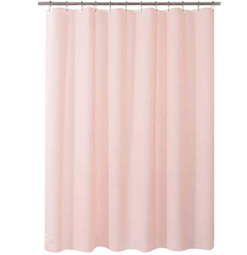 AmazerBath Plastic Shower Curtain, 48 x 72 Inches EVA 8G Shower Curtain with Heavy Duty Clear Stones and Grommet Holes, Waterproof Thick Bathroom Plastic Shower Curtains-Pink