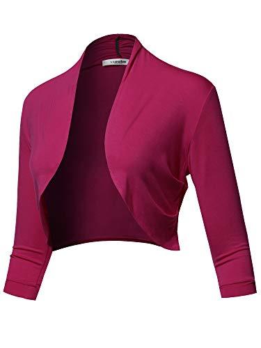 SSOULM Women's 3/4 Sleeve Open Front Bolero Shrug Cardigan Magenta L