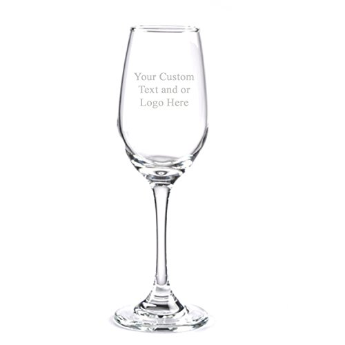 ANY TEXT, Custom Customized Engraved Flute Champagne Glass Glasses, 6.25 oz Stem - Personalized Laser Engraved Text Customizable Gift]()