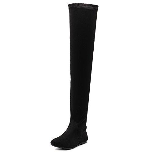 Ollio Women Shoe Adjustable Drawstring Span Faux Suede Thigh-high Zip Up Long Boots TWB11(8.5 B(M) US, Black) ()