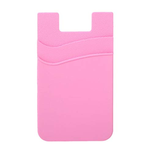 (Fashion Adhesive Sticker Back Cover Card Holder Case Pouch for Cell Phone Cards Organizer Pink)