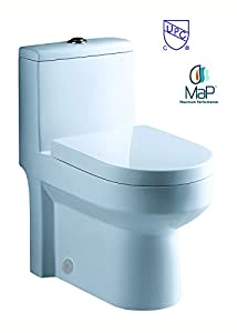 "GALBA SMALL TOILET 24.5"" long x 13.5"" wide x 28.5"" high inch One Piece 24"" 25"" cUpc UPC Short Compact Bathroom Tiny Mini Commode Water Closet Dual Flush Shortest Projection elongated Concealed Trapway"