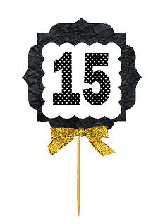 15th Birthday / Anniversary Gold Ribbon Hand Crafted Novelty Cupcake Decoration Toppers / Picks -12ct