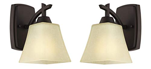 - Westinghouse Lighting Midori One-Light Indoor Wall Fixture, Oil Rubbed Bronze Finish with Amber Linen Glass (1-Light Wall Sconce Pack of 2)