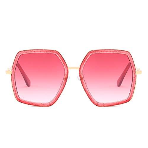 Oversized Square Sunglasses for Women Retro Chic Metal Frame UV400 Geometric Brand Designer Shades (C6 Transparent Red Frame/Red ()