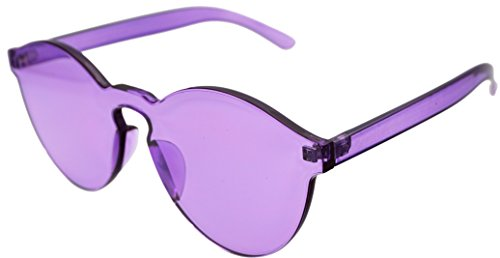 J&L Glasses Transparent Rimless Ultra-Bold Candy Color sunglasses (Purple, - Rays Colored Glasses
