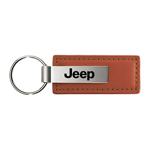 Jeep Brown Leather Key Fob Authentic Logo Key Chain Key Ring Keychain Lanyard