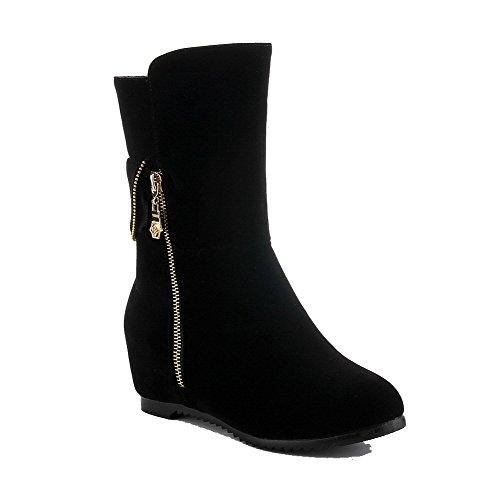 Low Solid Frosted Women's Black Pull AgooLar Boots on top Kitten Heels n4wpYgqI