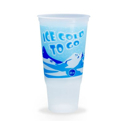 Plastic Cups with Lids - 44 oz Disposable Drinking Cups for Water, Soda & Soft Drinks - Translucent - Ice Cold To Go Design - 170 - Promotional Tumbler Plastic Large