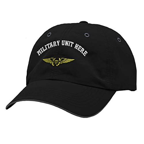 Custom Richardson Running Cap Naval Flight Officer Embroidery Unit Polyester Hat Hook & Loop - Black/Charcoal, Personalized Text Here