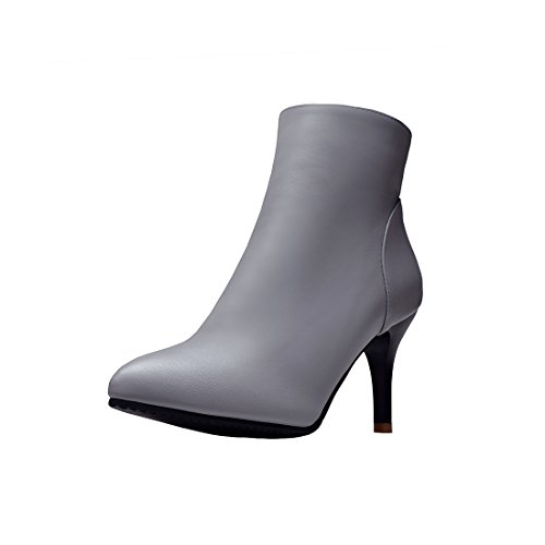 Agodor Womens Stiletto High Heels Ankle Boots With Side Zipper Pointed Toe Elegant Shoes Grey rZn3ZQln