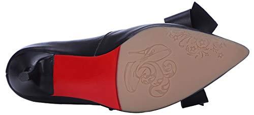 Calaier Nero 7cm toe Donna Punta Scarpe Couanu Tacco Scivolare Col Su Calzature 4A4qTBrS
