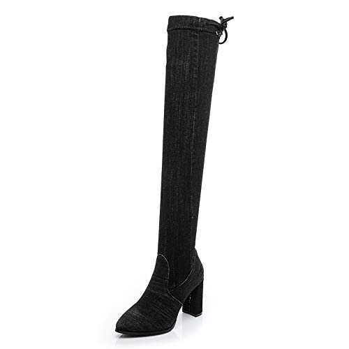 Pure black Cowboy Stretch high Boots high Heel Over The Knee Thick Pointed Martin Boots Female Autumn Winter