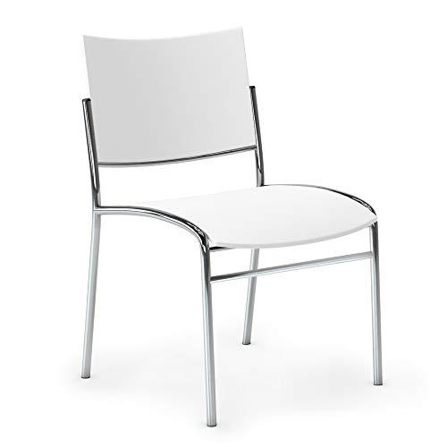 (Mayline ESC2W Escalate Stack Chair Plastic Seat and Back, (Qty. 4), White)