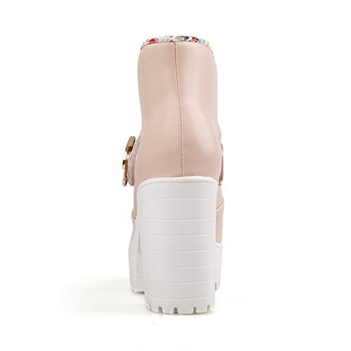 AllhqFashion Mujeres Tobillo Sólido Sin cordones Plataforma Botas con Ornamento Metal Rosa