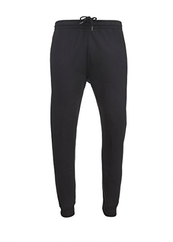 Spalding Mens Basic Fleece Athletic Workout Jogger Pants With Ribbed Cuffs Black XL