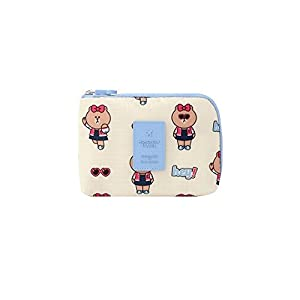 """Pureletter Monopoly LINE FRIENDS CABLE POUCH (S) ( 6.29 x 4.92 x 1.18 """" inches) (CHOCO)"""