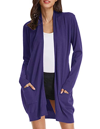 Women Pink Knit Ribbed Fall Sweaters Cotton Cardigan(S,Dark Violet)