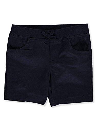 French Toast Girls' Big Stretch Pull-On Tie Front Short, Navy, (Girls Navy School Uniform Shorts)