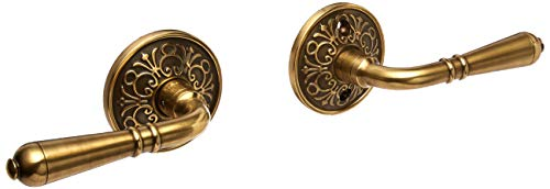 (Lancaster Door Set With Turino Lever Handles Right Hand Passage In Antique Brass. Old World Door Knobs.)