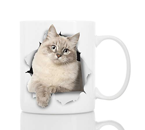 Siberian Cat Coffee Mug - Ceramic Funny Coffee Mug - Perfect Cat Lover Gift - Cute Novelty Coffee Mug Present - Great Birthday or Christmas Surprise for Friend or Coworker, Men and Women (11oz)