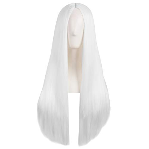 MapofBeauty 28 Inch/70cm Women Special Natural Long Straight Side Bangs Synthetic Wig (White)]()