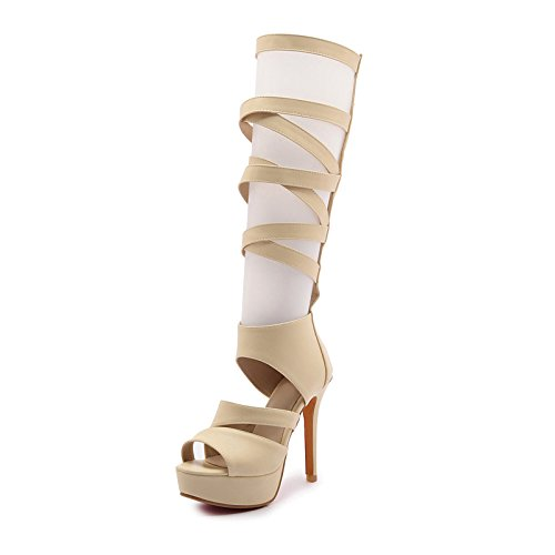 parte aperta Bianco pu donna Office Estate Beige punta pompa base Heel Primavera Scarpe Stiletto Black ZHZNVX sandali Carriera per Sera della Nero Hapq77