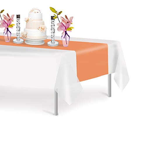 Peach 12 Pack Premium Disposable Plastic Table Runner 14 x 108 Inch. Decorative Table Runner for Dinner Parties & Events, Decor By Grandipity
