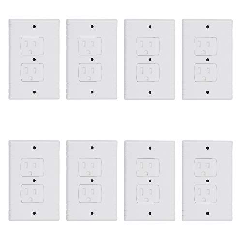 Cherry Juilt Universal Wall Plates for Outlet Self-Closing Electrical Outlet Covers Dual Port Replacement Covers Extra Safe for Child 8 - Cherry Faceplates