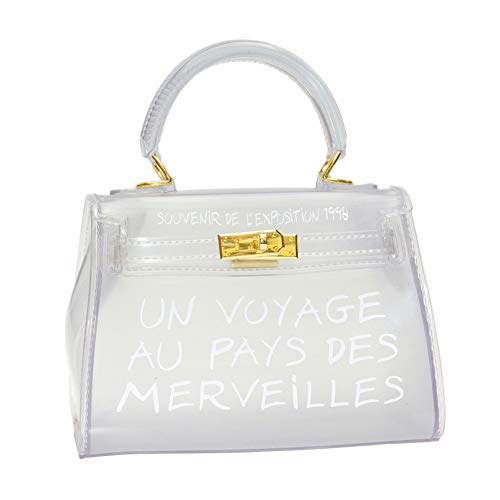 Women Clear Bag Jelly PVC Purse Transparent Handbag Tote Bags (Large, White)