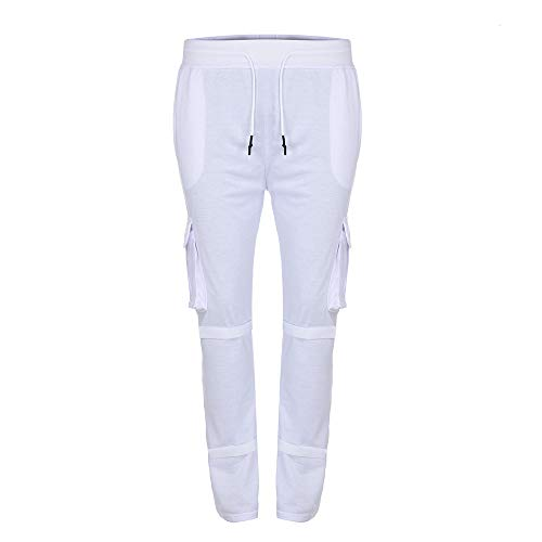 Newlyblouw New Mens Stripe Sport Pants Summer Casual Solid Loose Trousers Patchwork Button Sweatpants Low Crotch Slacks White