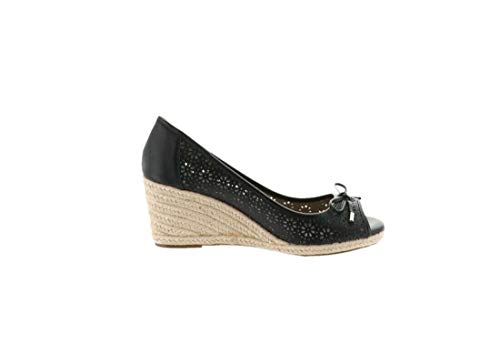 Claiborne Liz Shoes - Liz Claiborne NY Open Toe Perforated Wedges Black 8M New A263705