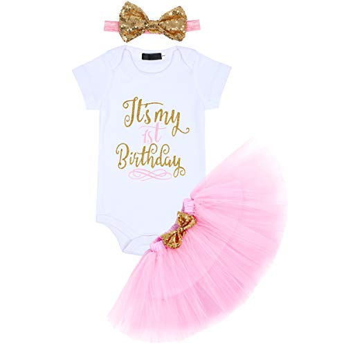 OwlFay Baby Girls It's My Half Eerste 1e 2e Verjaardag Cake Smash Outfits Romper + Tutu Rok + Strik Hoofdband Pailletten…