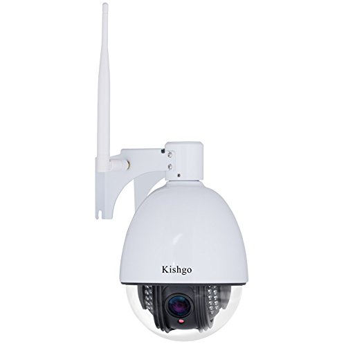 Kishgo Outdoor PTZ Wireless IP Security Camera, 960P HD WiFi Camera 1.3-Megapixel(1280x960), Pan Tilt With 5x Optical Zoom, Auto Focus, Night Vision, Motion Alert, IP66 Weatherproof - Black ()
