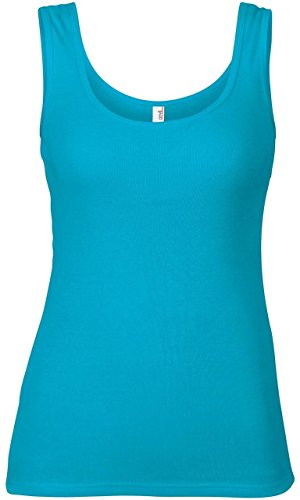 Anvil Women's 1x1 Baby Rib Tank Caribbean Blue Xl