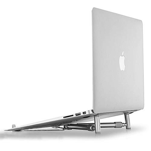 YINO Foldable Laptop Cooling Stand, Portable Folding PC Cooler Adjustable Stand Ergonomic Aluminium X-Stand Bed Sofa Folding Elevator Stand for Computer Macbook Notebook Pad (Black)