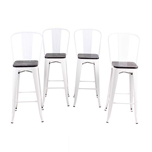 Buschman Set of 4 White Wooden Seat 24 Inch Counter Height Metal Bar Stools with High Back, Indoor/Outdoor (Stackable Back High)
