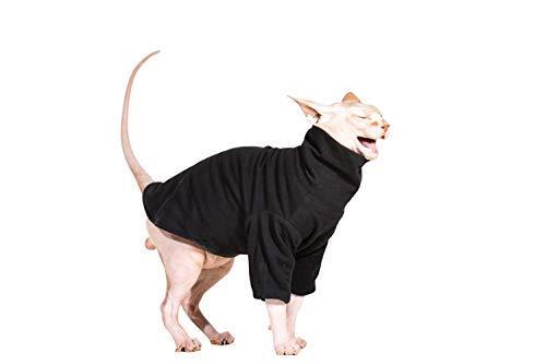 Khemn Designer Double-Cotton High-Collar Cat Shirt Made of Fleece-Best for Hairless Cat, 7 Colors (Black, M) ()