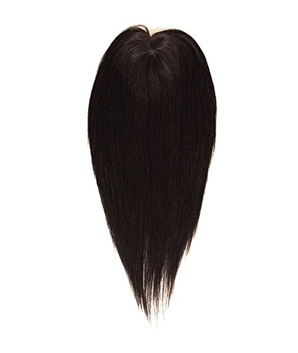 Uniwigs 5.5''×5.5'' Remy Human Hair piece, Lace front and Silk Base Topper, Straight Hairpiece,16 Inches for Hair Loss (Natural Black) by uniwigs