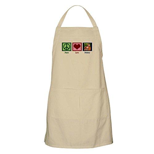 CafePress Peace Love Pottery Apron Kitchen Apron with Pockets, Grilling Apron, Baking Apron