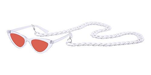 Cadena Gafas Sol Mujer 9 Marco de con de Pequeño Retro BOZEVON Triángulo A Style Moda IwgYqHqPx